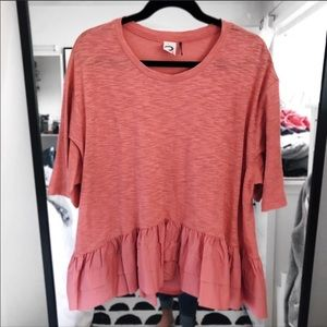 Anthropologie peach pink peplum oversized boxy tee
